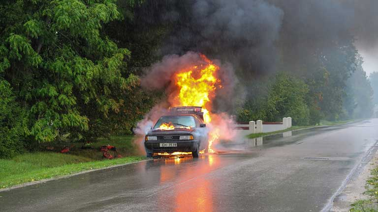 car heat caused fire in engine