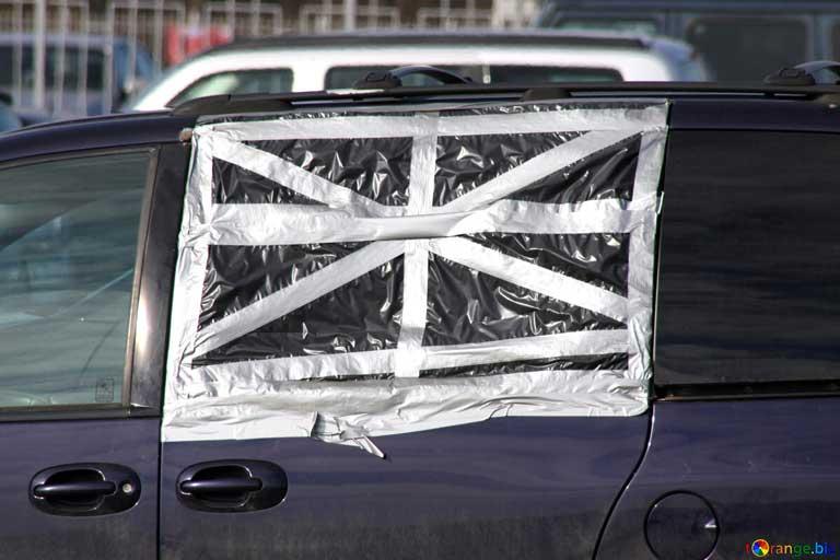 how to cover broken car window