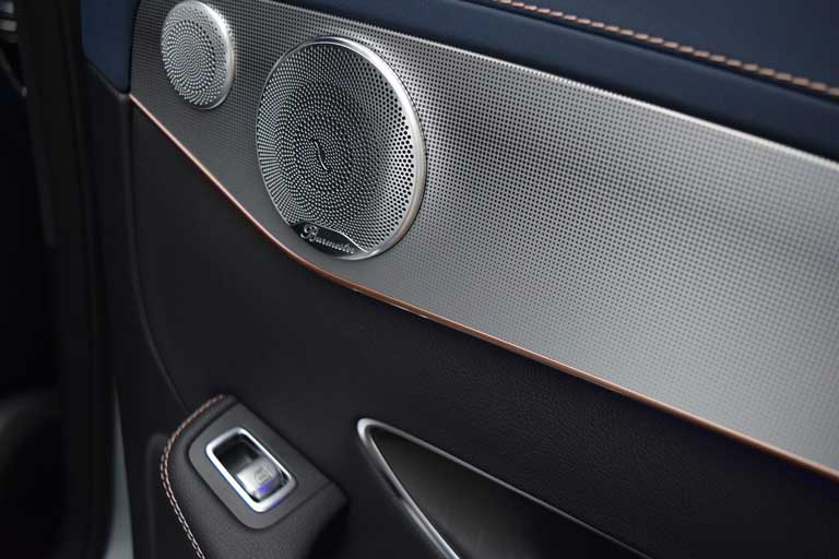 installed car speaker in the car door